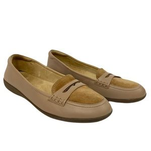 Naturalizer Finley Tan Leather Penny Loafers Beige